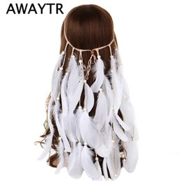 China AWAYTR Boho White Red Pink Feather Headband Women Festival Wedding Headwear Gypsy Feather Rope Crown Headdress Hair Accessories cheap red feather headdress suppliers