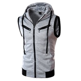 sleeveless cardigan vest UK - Summer New Hooded Vest Casual Men Solid Color Sleeveless Jacket Spring Mens Slim Zipper Waistcoat Brand Outwear Streetwear