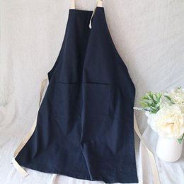 custom aprons Australia - Simple navy blue medium long sleeveless cotton apron pure color custom logo painting baking men's and women's work clothes