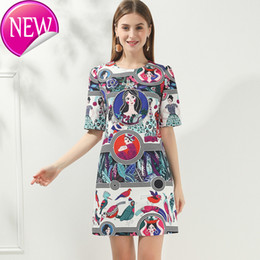 round skirt dress Australia - Super Quality Temperament Light Cooked Round Neck Short Sleeve Personality Printing Zipper Clothes Short Skirt 2020 Popular Suit-dress