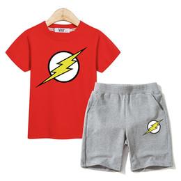 $enCountryForm.capitalKeyWord Australia - Fashion Lightning sign boys clothes fashion tees short pant 2 piece sets flash outfits kids summer costumes children