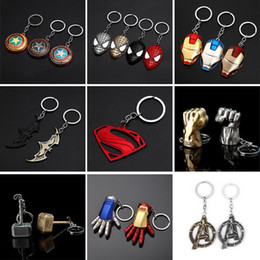 super alloy superman NZ - Captain America Thor Batman Iron Man Superman Spider Man The Avengers Keychain Keyring Movie Super Hero Key Ring Accessories