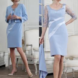 Plus Size Cheap Mother Bride Dress Australia - Satin Blue Mother Of The Bride Dresses With Jacket Cheap Knee Length Lace Evening Gowns Plus Size Wedding Guest Dresses