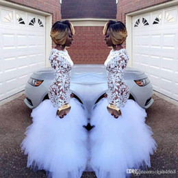 $enCountryForm.capitalKeyWord Australia - 2019 New Sexy African White Mermaid Lace Prom Dresses for Black Girls Long Sleeves Ruffles Tulle Floor Length Plus Size Evening Prom Gowns