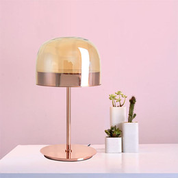pink room lamp NZ - Modern Pink Rose Gold Iron Glass Bedside Table Lamp for Night Bedroom Living Room Luminaire Home Decor