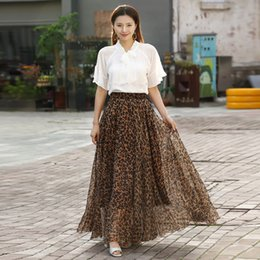 02f5cb3e15 2019 Falda de Círculo Falda de Gasa Estampado de leopardo Largo Maxi Playa  de Verano Mujeres Vintage Ropa Femenina Tutu Vestidos Club Fiesta faldas