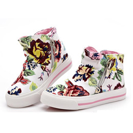 Girls Canvas Shoes Floral Australia - New 2016 children canvas shoes for girls Flower Print children sneakers kid sport shoes
