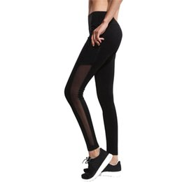 Side Mesh Leggings Australia - Fitness Stretch Mesh Breathable Elastic High Waist Trousers With Side Pocket Women Sports Exercise Leggings Running Yoga Pants #849577