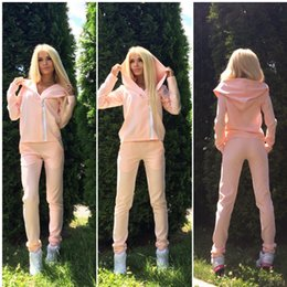 $enCountryForm.capitalKeyWord Australia - Zipper Casual Two Piece Set Long Sleeve 2 piece set Women Hoodies Female Costume Clothes Fashion Tracksuit For Women Pink Outfit