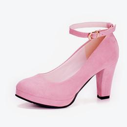 Ladies Flat Heel Footwear Australia - Designer Dress Shoes 2019 Women Autumn Flock Thick Heel Buckle Strap Pumps Female Career Office Pumps Ladies Sexy Elegant Fashion Footwear
