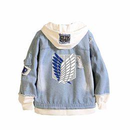 $enCountryForm.capitalKeyWord Australia - Anime Attack on Titan Unisex Streetwear Long Hooded Jeans Jacket Guilty Crown Death Note Harajuku Denim Patchwork Hoodies Coat