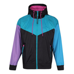 Wholesale jackets sport resale online - 2021 Outdoor Hooded Mens Jackets Sports Windbreaker Patchwork Coats Print Zipper Hoodies Running Outwear S XL NE6219