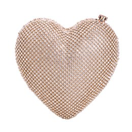 Diamond Studded Evening Clutch Bag Australia - Heart Shape Evening Clutch Bags Diamond-Studded Evening Bag Shoulder Bag Women's Handbags Wallets For Wedding