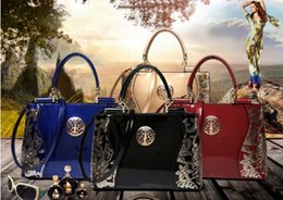 Blue color ladies shoulder handBag online shopping - new women s bag patent leather ladies fashion handbag brand designer shoulder slung multi color big bag one can send