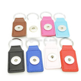 snap cartoon Australia - Fashion 8 colors PU Leather Snap Button Keychain Snap Key Rings fit DIY 18MM Snap Jewelry