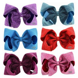Children pink Cloth online shopping - Kids Girls Glitter Big Bowknot Hairpin Inch Shiny Cloth Bow Hairpins Hairclips Sparkle Barrettes Hairbands Children Hair Clips A41004