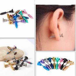 0c38380db Men Black Stud Earrings Australia - Fashion Punk Gold Black Color Stainless  Nail Screw Stud Earring