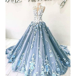 3d chocolates online shopping - High Neck Luxury Blue Prom Dresses Elegant D Floral Appliques Ball Gown Evening Dress Dubai Arabic Formal Wear Robe De Soiree