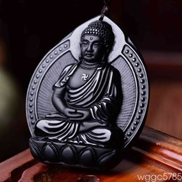 Black Hand Pendant Australia - Free Shipping 100% Natural Black Obsidian Hand Carved Buddha Amulet Lucky Pendant