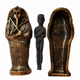 Ancient stAtues online shopping - Ancient Egyptian Dry Corpse Coffin Figurine Sculpture Pharaoh Mummy Statue Sand Table Ornaments Miniature Fish Tank Decoration