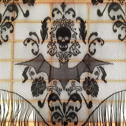 Discount decor curtains living room - Skull Bat Web Curtain Topper Shawl Halloween Haunted House Home Tassel Party Supplies Drop shipping home decor