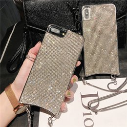 $enCountryForm.capitalKeyWord Australia - Mobile Phone Case For iPhone X 8 7 Plus Xs Xr Xs Max Diagonal Chain Shoulder Strap Rhinestone Shine Shockproof Fashion Protective case