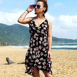 Wholesale YOUNG VIVA Women bodycon dresses Sleeveless V Neck floral pattern Chiffon slip dress l046