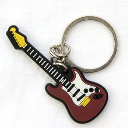 skeleton guitars NZ - FREE SHIPPING BY DHL 100pcs lot Newest Rubber Silicone Electric Guitar Keychains Music Keyrings Guitar Pendant for Gifts