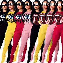 Yellow Lips Australia - 2019 Women Colorful Sequins Lip Eyes Cartoon Print O-neck Long Sleeve Blouse Top Skinny Pants Suit 2pcs Set Sporting Outfit Tracksuit Plus