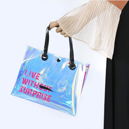 Discount breast milk women - Transparent Laser Handbag Button Slanting Waterproof Inclined Shoulder Bag Eco Friendly Fashion Women Storage Bags 21 16