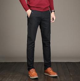 Wholesale men dressing grey trouser resale online - Men s Black Blue Grey Suit Pant Men Straight Slim fit Business Casual Straight Male Trousers Office Wear Solid Dress Pants