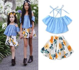 Baby Girl Summer Suits Australia - new 2019 Children's clothing explosions summer baby girls suit blue sling tops + flower skirt kids clothes 2pcs  set