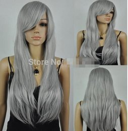 dress size small free shipping NZ - FREE SHIPPING+ + + new Vogue women's long straight wig grey cosplay party fancy dress wig