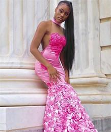 $enCountryForm.capitalKeyWord Australia - Pink Mermaid Prom Dresses 2K19 Prom Season Black Girls Sexy Backless Halter Neck Cascading Rose Flowers Long Evening Gowns