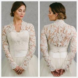 Shrugging Jacket Australia - Long Sleeve Wedding Wrap Lace Jacket White Ivory Appliqued Cheap Bridal Wrap Bolero Shrug Custom Made