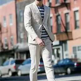 Simple Suit Designs Australia - Ivory Linen Men Suits for Wedding Suits Man Blazers Simple Breasted Groom Tuxedos Latest Designs Costume Homme 2Piece Slim Terno Masculino