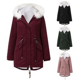 cotton leads Australia - Woman Cotton-padded Clothes White Hair Lead Catch Sweat Shirt Long Fund Even Hat Winter Keep Warm Increase Down Overcoat Woman