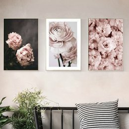 Discount modern painting pictures - Romantic Modern Pink Rose Flowers Canvas Paintings Posters Prints Valentine's Gift Wall Art Picture Bedroom Home De
