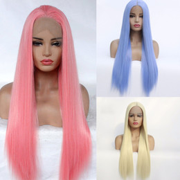 Discount long light blue cosplay wig - Synthetic wig pink light blue honey blonde lace front wig synthetic long straight hair blue cosplay wigs bob wig synthet