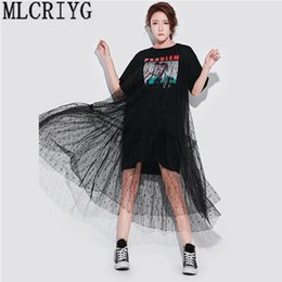 $enCountryForm.capitalKeyWord NZ - Long Lace Dresses Summer Korean Splicing Pleated Tulle T Shirt Dress Women Big Size Black Color Clothes New Fashion 2019 Yq220 Y190417