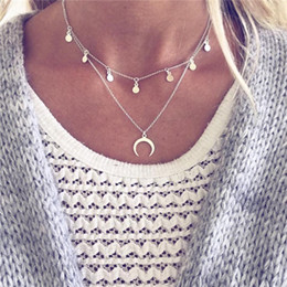 rose long chain pendant Australia - Boho Gold Silver Chain Moon Choker Necklace Women Long Beads Chocker colar necklaces pendants collier femme colares kolye ALXY04