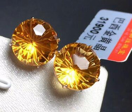 $enCountryForm.capitalKeyWord NZ - natural gemstone citrineb round citrine 18K coughs yellow gold earrings with certificate 10mm yellow Crystal Diamonds