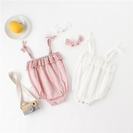 Acrylic Baby Hair Clip Australia - INS Candy Toddler Baby Girls Rompers with Hair Clips 2pcs Suits Ruffles Lace Belt Straps Sleeveless Newborn Jumpsuits Bodysuits Onesies 0-2T