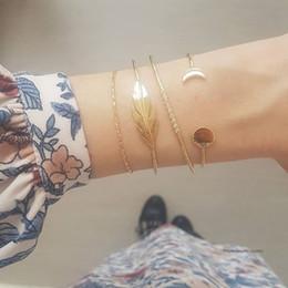 $enCountryForm.capitalKeyWord Australia - 4 Pcs set Women Vintage Leaves Crystal Geometry Moon Gold Bracelet Set Bohemian Charm Jewelry Accessories