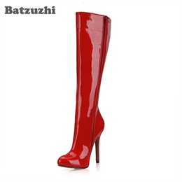 $enCountryForm.capitalKeyWord NZ - Sexy Red Patent Leather Boots Women 12cm High Heel Long Boots Women 12cm Sexy Winter Warm Boots Party Zapatos Mujer