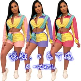 Purple Football Tracksuits Australia - Womens sportswear long sleeve shorts outfits 2 piece set fashion panelled tracksuit jogging sport suit sweatshirt tights sport suit klw0781