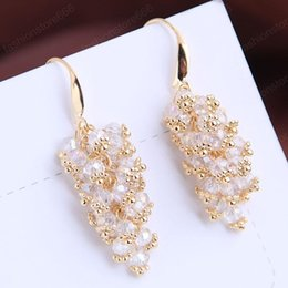 crystal grape wholesale NZ - Fashion Crystal Stone Earrings For Women Jewelry Grape Long Hanging Earrings Statement Earings Fashion Jewelry