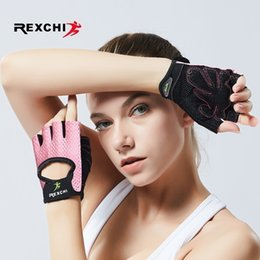 Real Leather Half Gloves Australia - Rexchi Professional Gym Fitness Gloves Power Weight Lifting Women Men Crossfit Workout Bodybuilding Half Finger Hand Protector C19022301