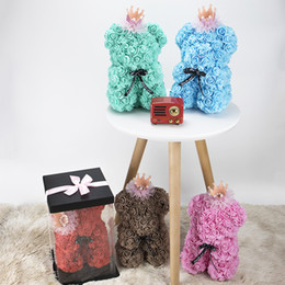 Soap diSplayS online shopping - Rose Bear cm with Gift Box Valentines Day Gift Artificial Flowers Rose of Teddy Bear Soap Flower for wedding home decoration