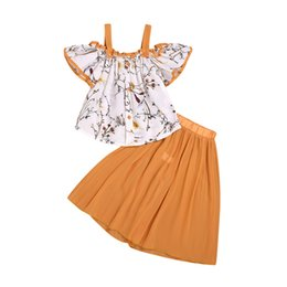 7e3f9e0b921f9 Kids Baby Girls Clothing Floral Tops Off Shoulder Cute Loose Pants Casual 2pcs  Outfits Set Clothes Girl
